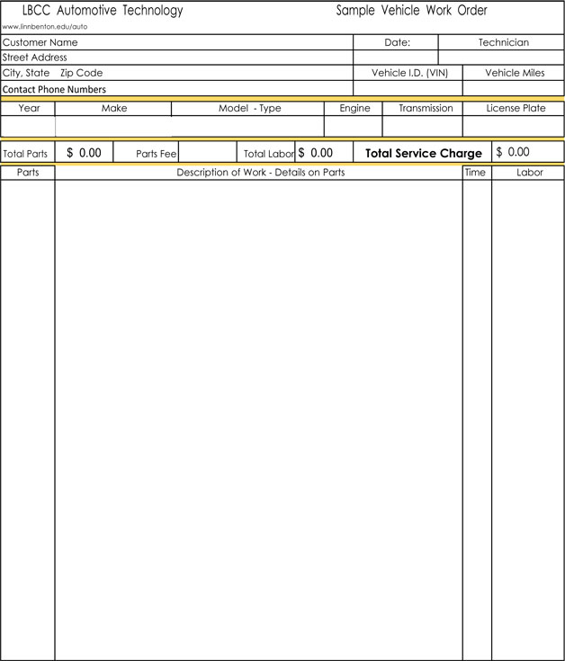 Automotive Auto Repair Invoice Template