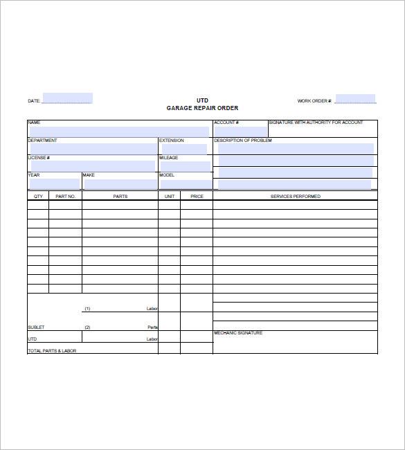 Automotive Repair Invoice Template