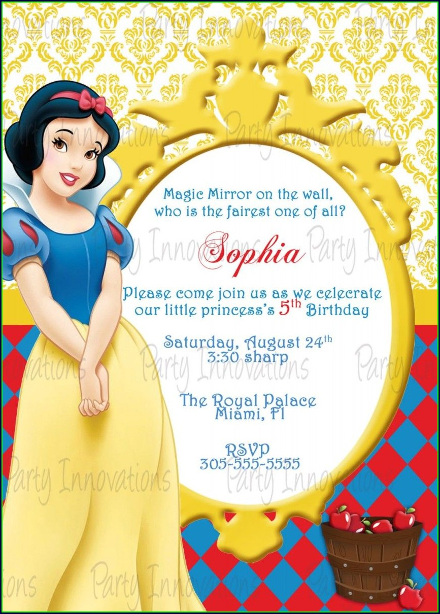 Blank Snow White Invitation Template