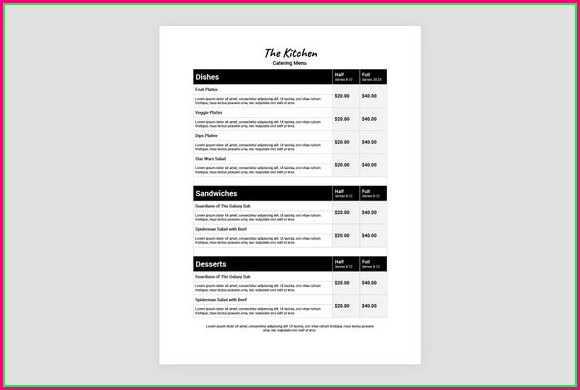 Catering Menu Template Word