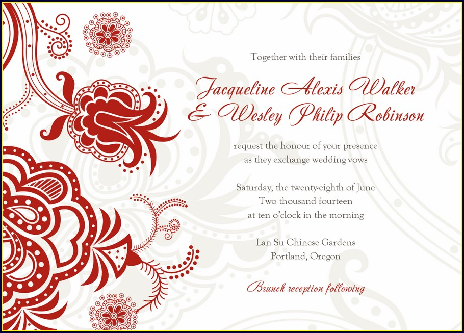 Chinese Wedding Invitation Card Template Free Download