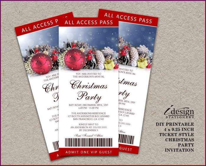 Christmas Dinner Tickets Templates