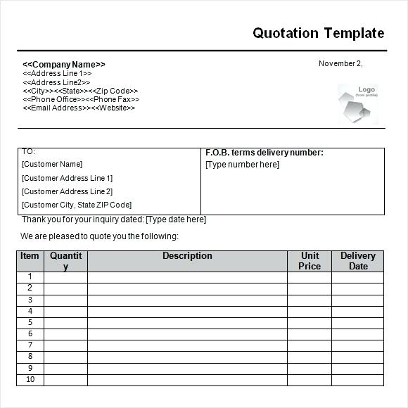 Cleaning Quote Template Word