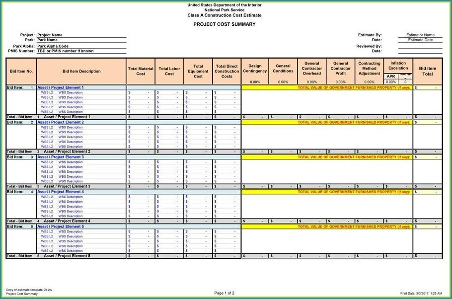 Construction Estimating Template Excel