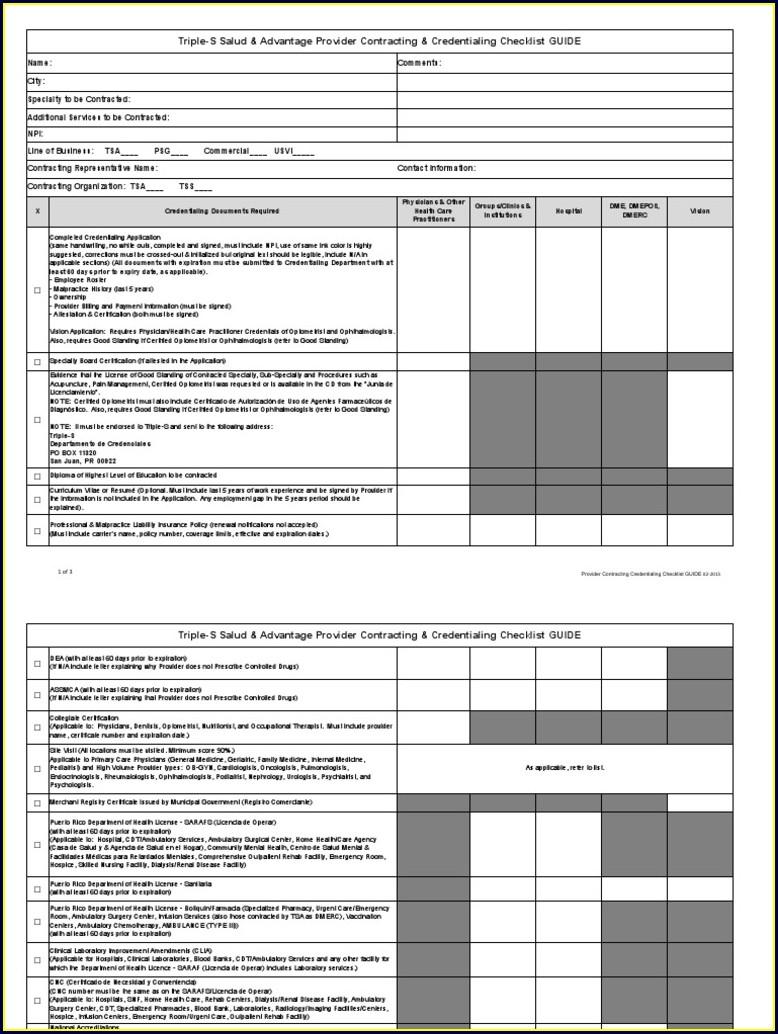 Credentialing Checklist Template