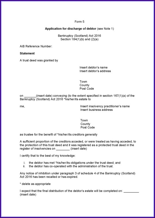 Deed Of Trust Template Ireland