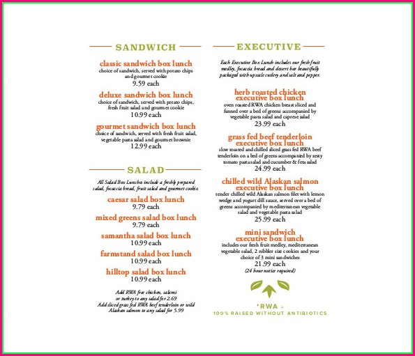 Downloadable Catering Menu Template Word
