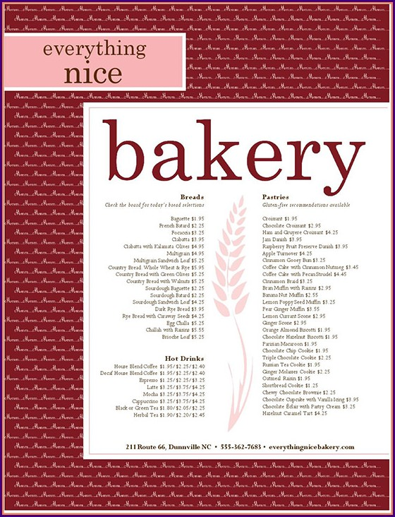 Downloadable Free Bakery Menu Template