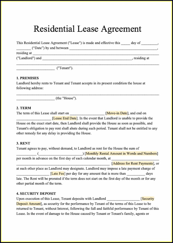 Downloadable House Lease Agreement Template