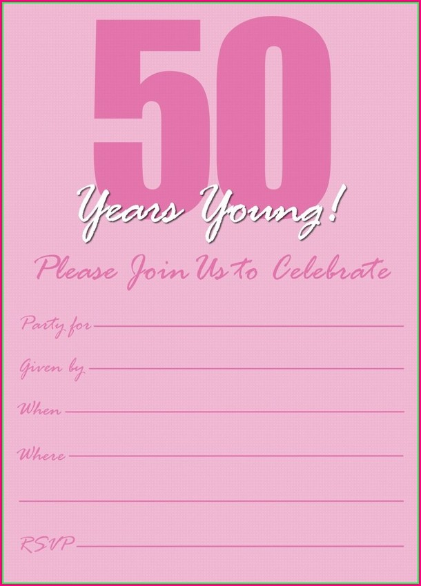 Editable 50th Birthday Invitations Templates