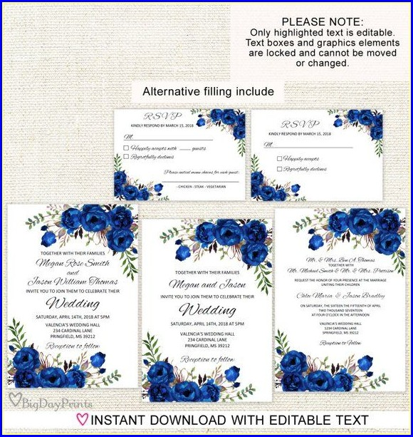 Editable Royal Blue Wedding Invitation Templates Free