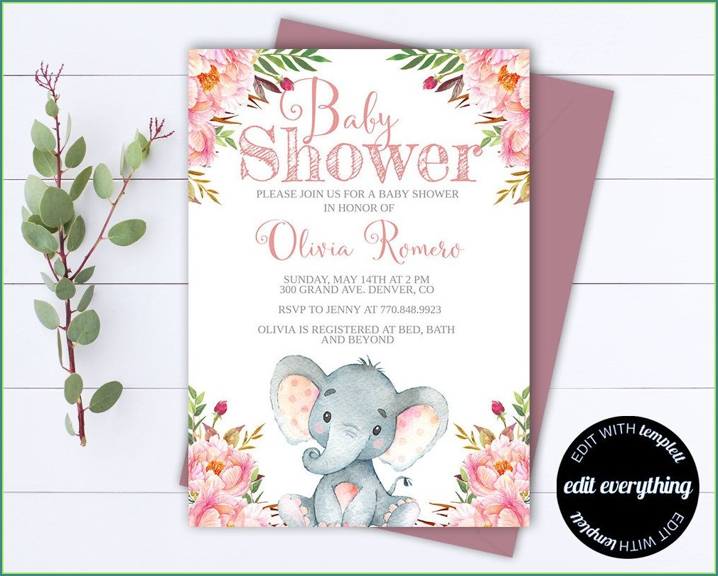 Elephant Girl Baby Shower Invitations Templates