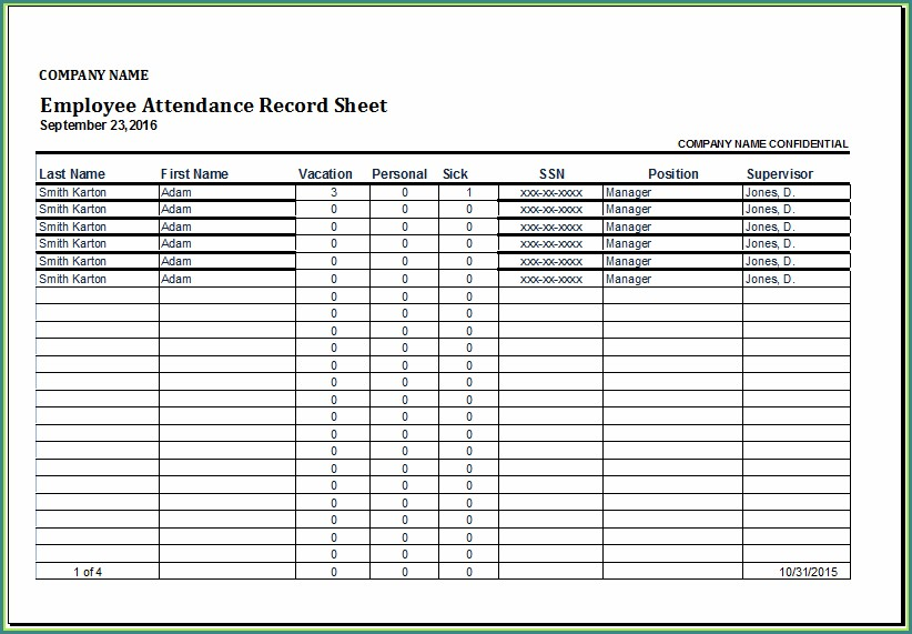 Employee Attendance Spreadsheet Template Excel