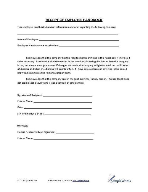 Employee Handbook Signature Page Template