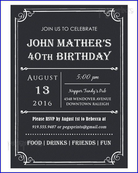 Free 40th Birthday Invitation Templates For Him