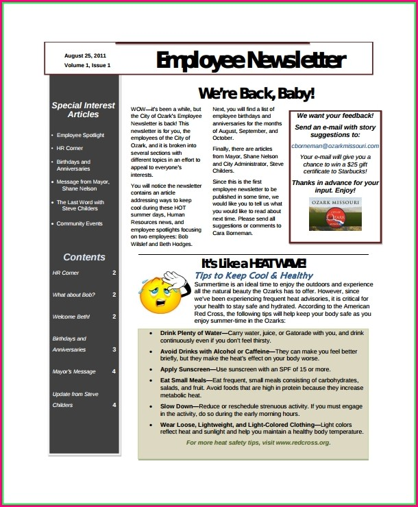 Free Editable Employee Newsletter Templates
