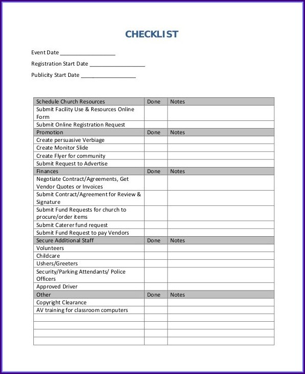 Free Event Planning Checklist Template Excel