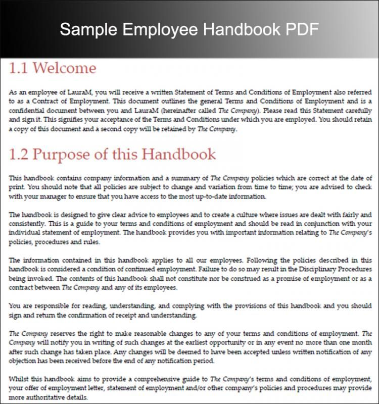 Free Sample Employee Handbook Template