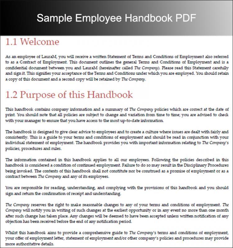 Free Sample Employee Handbook Template