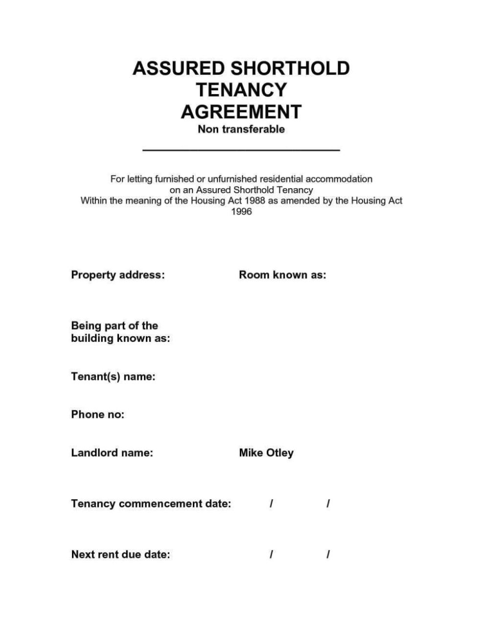 Free Tenancy Agreement Template Download Uk
