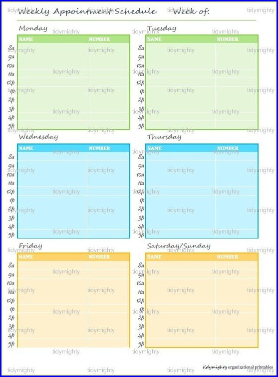Free Weekly Appointment Calendar Template