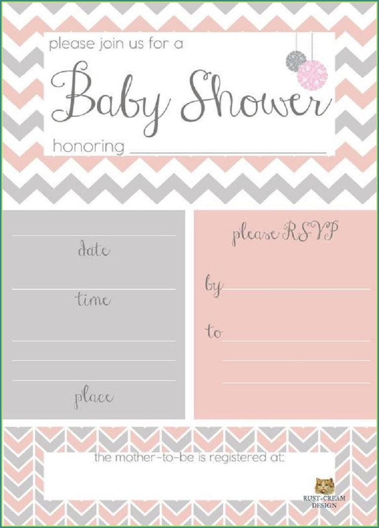 Girl Baby Shower Invitations Blank Templates