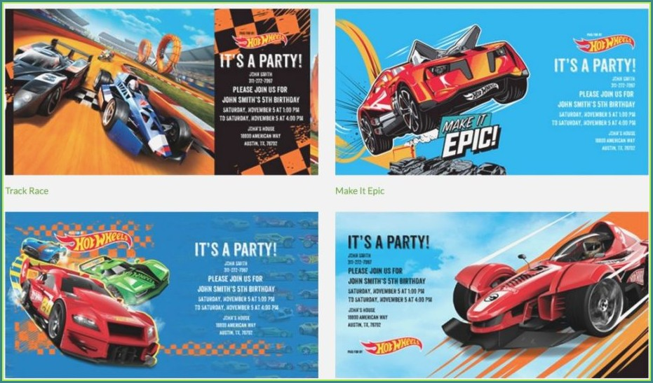 Hot Wheels Birthday Invitation Template