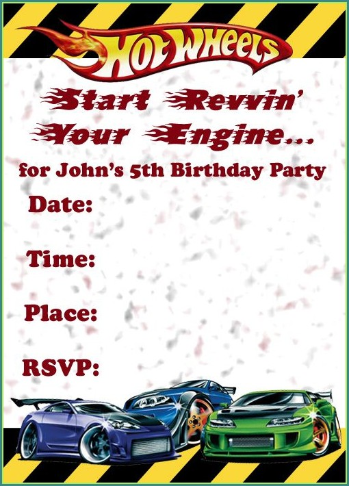 Hot Wheels Invitation Template Free