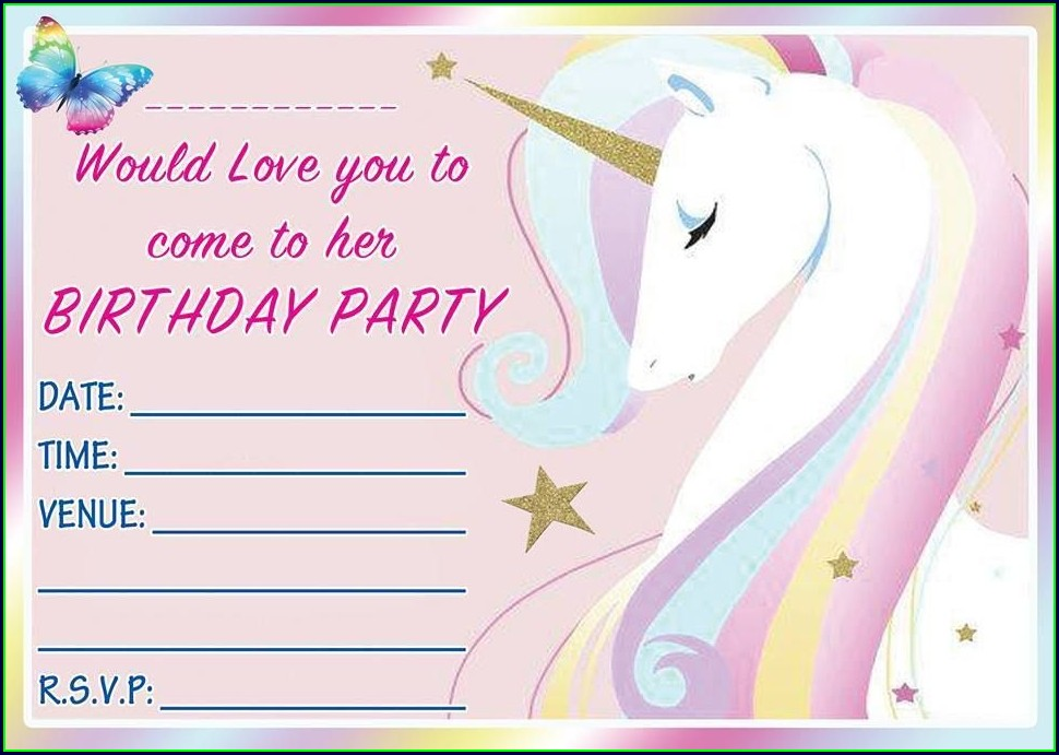 Invitation Unicorn Birthday Card Template