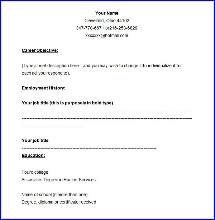 Job Resume Template Blank