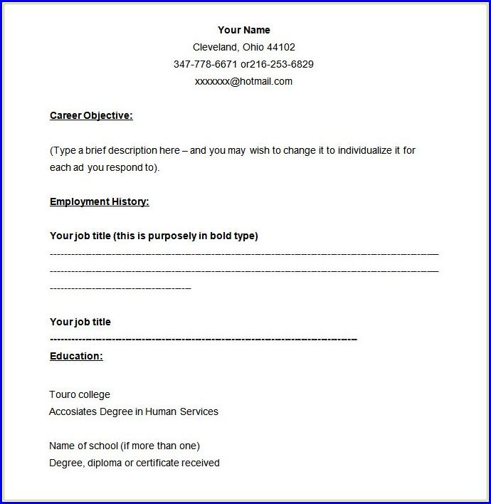 Job Resume Template Blank