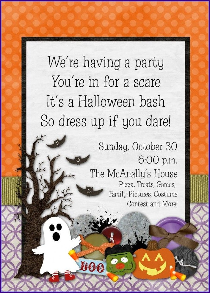Kids Halloween Birthday Party Invitation Template