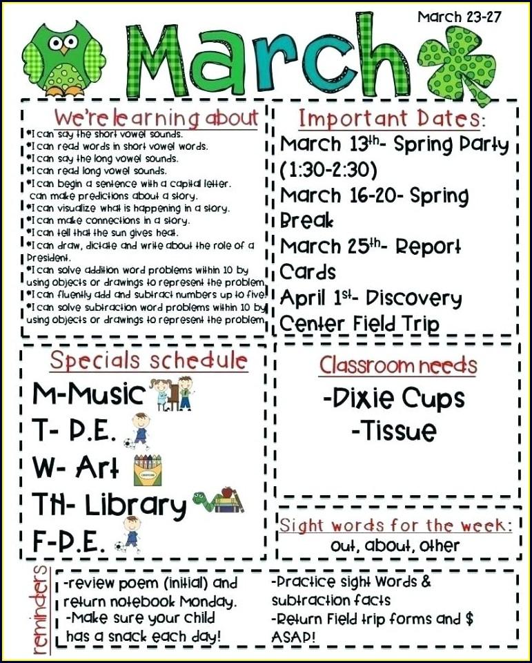 Kindergarten Weekly Newsletter Template Free