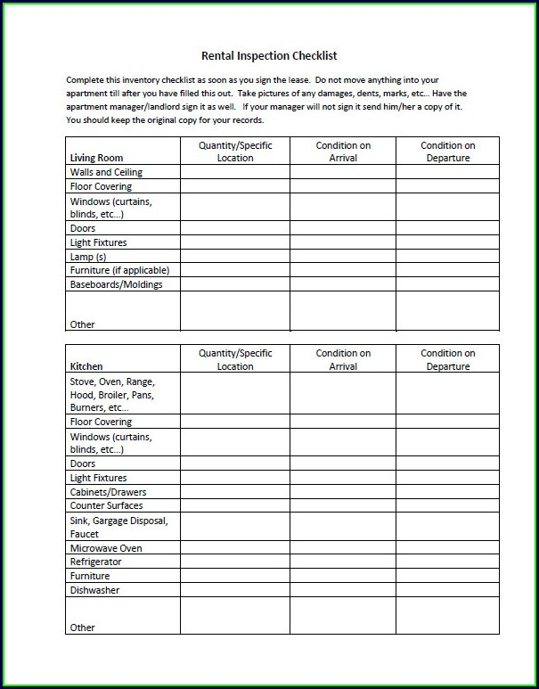 Landlord Rental Inspection Checklist Template