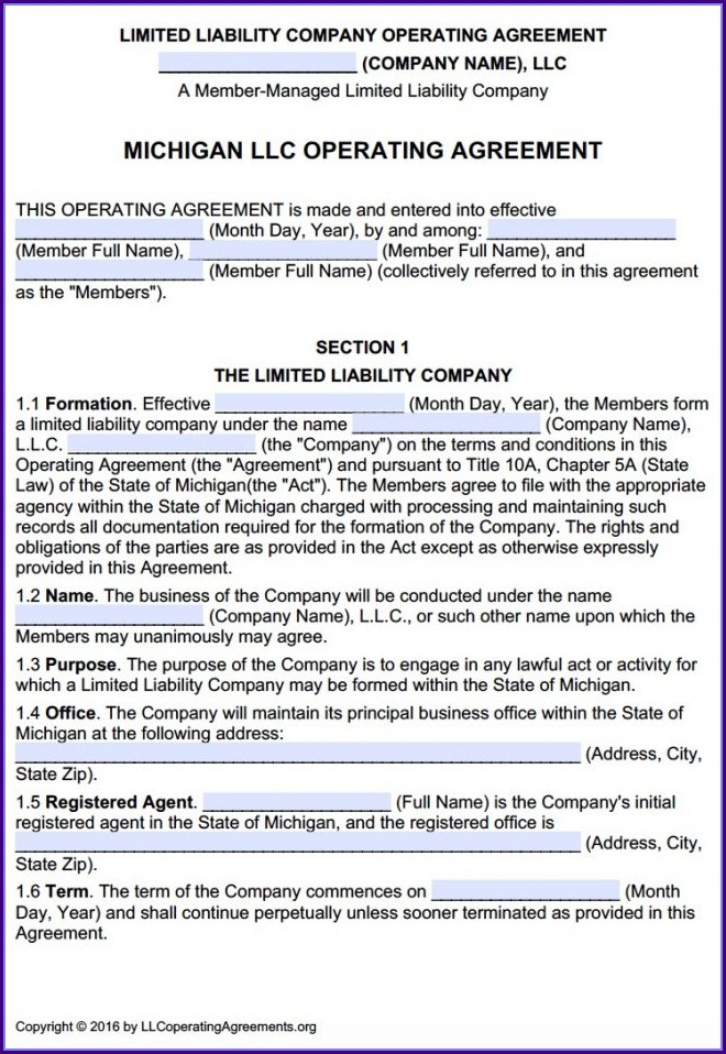 Multi Member Llc Operating Agreement Template Free