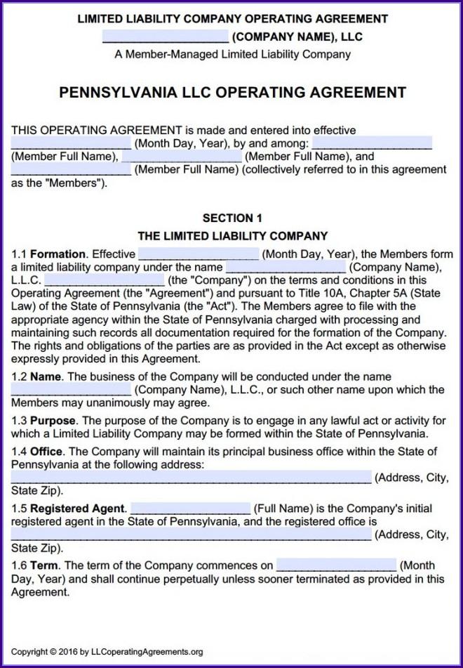 Multi Member Llc Operating Agreement Template Pennsylvania