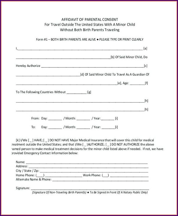 Parental Consent Free Child Travel Consent Form Template Uk