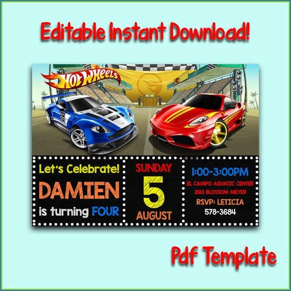 Personalized Hot Wheels Invitation Template