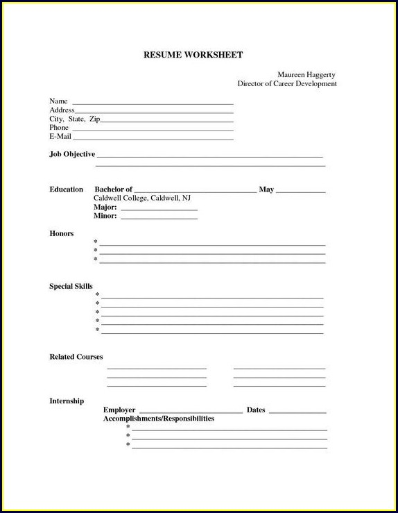 Printable Free Blank Resume Templates Download