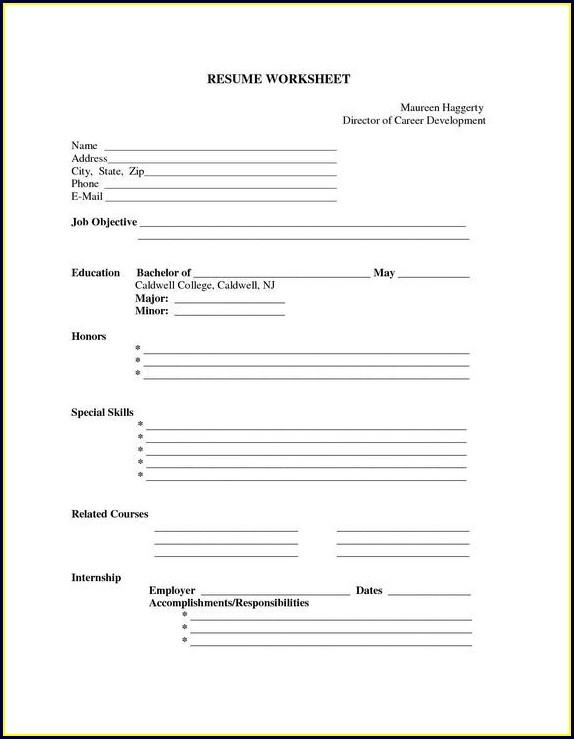 Printable Free Blank Resume Templates Download