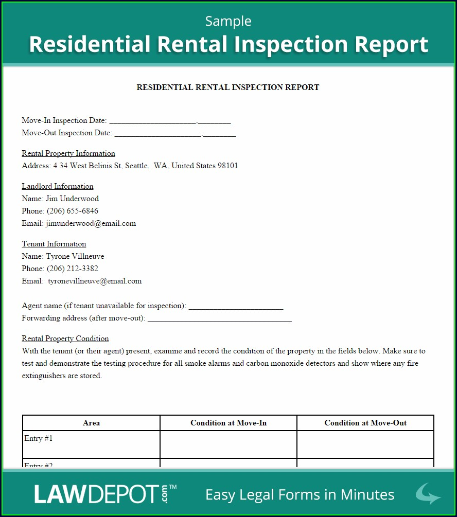 Printable Landlord Rental Inspection Checklist Template