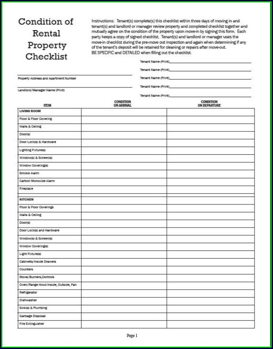 Printable Rental Inspection Checklist Template
