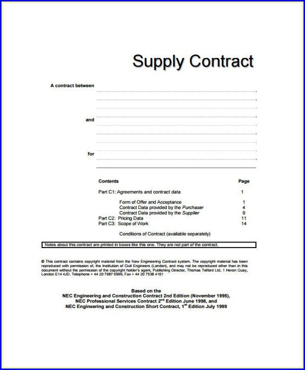 Printable Supply Agreement Template Free
