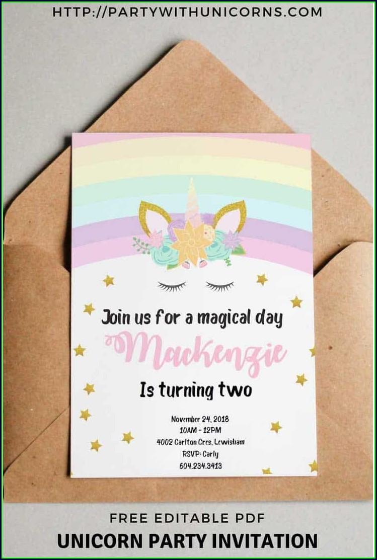 Printable Unicorn Birthday Card Template