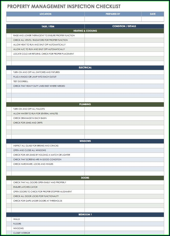 Property Management Rental Inspection Checklist Template