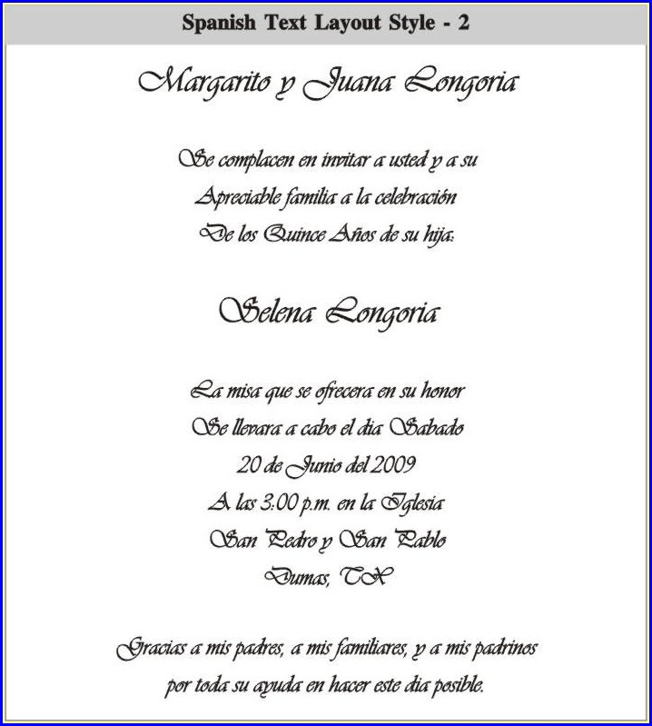 Quinceanera Invitations Templates In Spanish