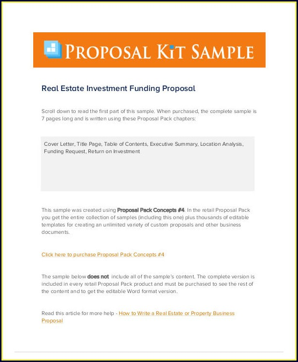Real Estate Investment Proposal Template Free