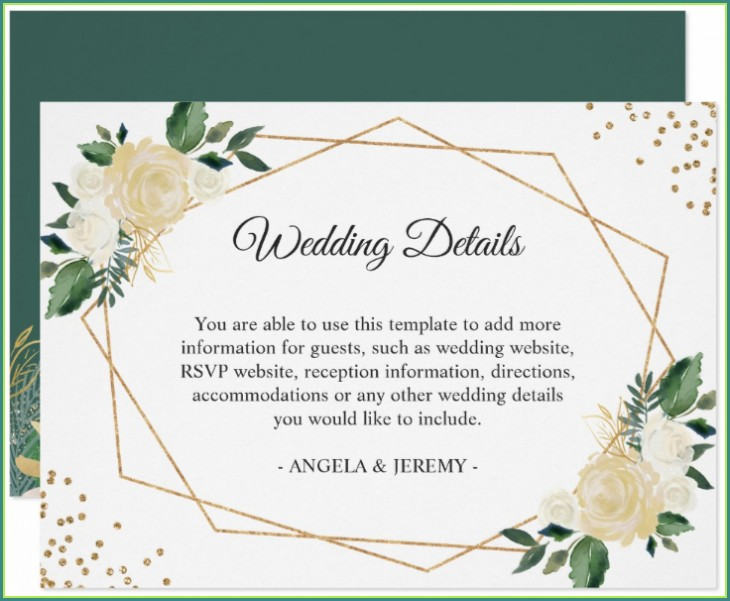Reception Cards Template