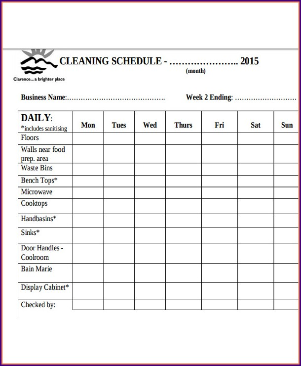 Restaurant Cleaning Schedule Template Excel