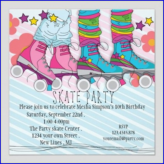 Roller Skating Birthday Party Invitations Template Free